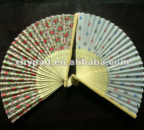 custom bamboo silk hand fan