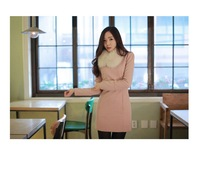 Sweet set buckle Korea, long-sleeved dress Korean Women Slim Dress
