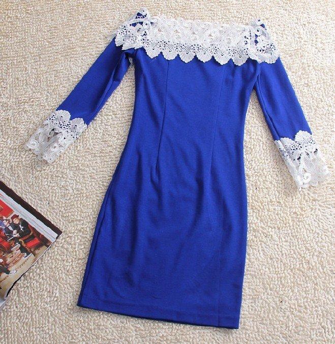 Как удлинить синее платье с помощью кружева