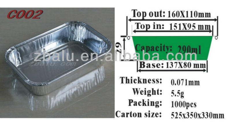 Disposable Rectangular aluminum container