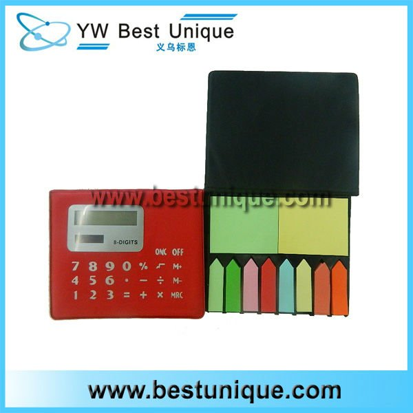Practicable 8 Digits Leather promotional calculator with Notebook