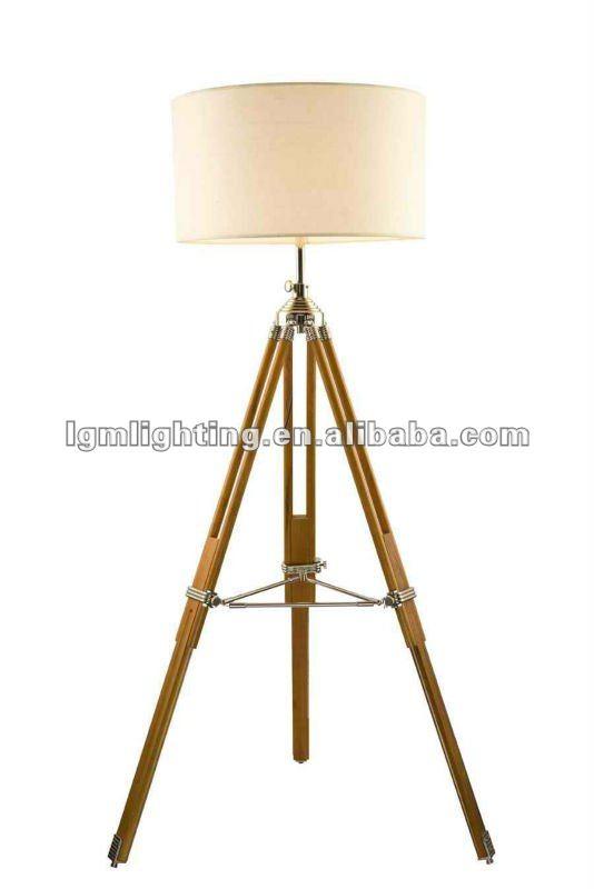 marina di legno lampada da terra treppiede f021-Lampade da terra ...