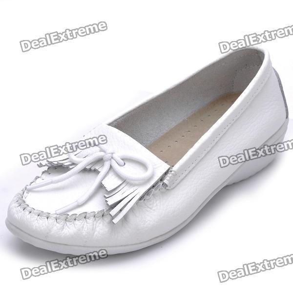 доход женщин корова кожа повседневная женская обувь - белый