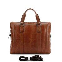 Портфель SHIP 5PCS/Lot Vintage Leather Men's Brown Briefcase Messenger Shoulder Handbag Laptop Bag Hot Sell #7097B