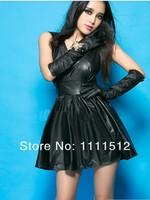 Сексуальные женские вырезом спинки платье без рукавов большой черные кожаные платья + подарок