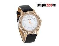 Наручные часы Decorative Rhinestones Bezel Women's Round Case Leather Strap Watch