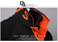 "Мужская футболка Men's Polo T-Shirts, Men's Leisure Shirts, Letter""SF"" Men's T-shirt Color:Black, Orange Size:M-L-XL"