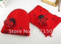 Головной убор для девочек 1set retail Baby ladybug hat and scarf set ladybird DR.Cotton CAP HATS Beetle sets baby Winter hat