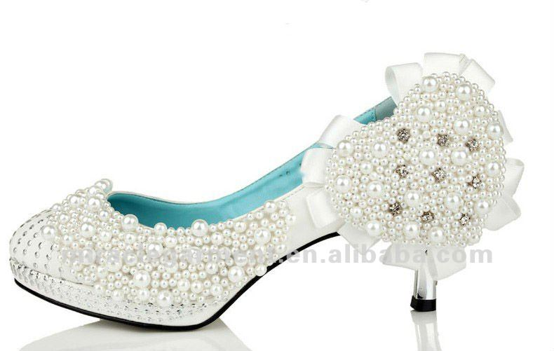 New style pearl lady wedding shoes high heel shoes