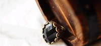 Кольцо Fashion retro Carving Black stones ring, black rings 17.5mm J1036