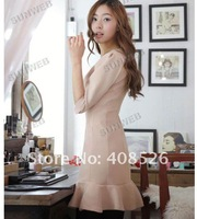 Женское платье 2012 New Fashion Korea Women's Lotus leaf hem Slim Round Neck Mini Dress Pink 5037
