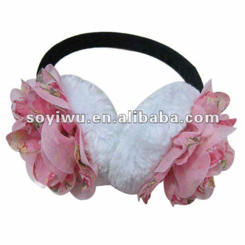 1367042 Winter Pink Flower Ear Muffs Earmuff