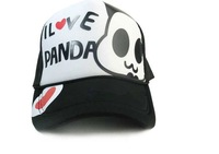 Женская бейсболка 2012 NEW FASHION! I love panda fashion cute textile printing baseball cap BH-006