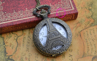 new bronze Eiffel Tower pocket watch necklace with chain