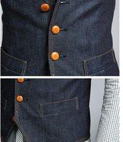 высокий класс плюс размер джентльмен мужчин мода slim одной грудью джинсы жилет роскошь жилеты m l xl