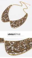 Колье-ошейник C058 fashion elegant vintage metal carved false collar metal collar necklace 61g