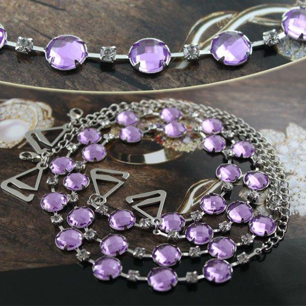 BB172-207 Purple Diamante Beaded Bra Straps Sexy Underwear Accessory