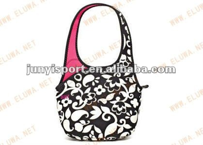 Flower Grain Neoprene Lunch Bag With Handle For Adult - Buy Insulated Lunch ...