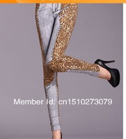 Женские джинсы Ms 2014 new during the spring and autumn imitation cowboy show thin tight pencil pants leopard print 2 colors