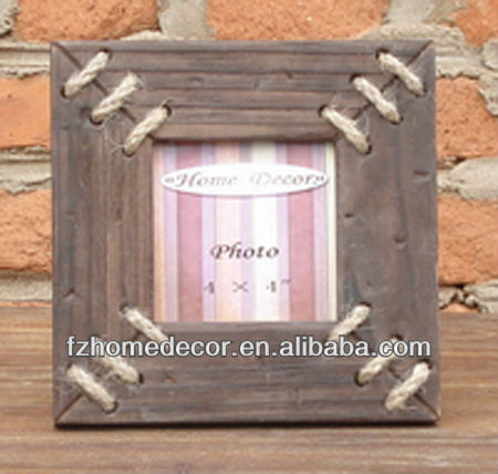 OAK antique photo frame with rope decor