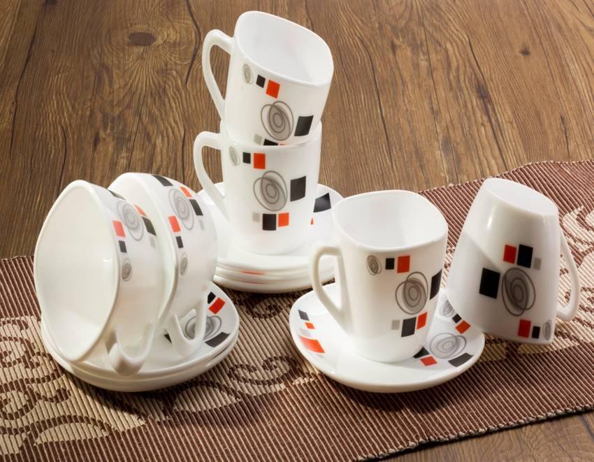 Опал стекло 12 psc квадратных чашки тарелки посуда набор
