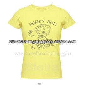 100% cotton Printed Ladies T-shirt - Honey - Yellow.jpg