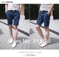 2013 New hot sale  linen material cultivating leisure solid color mens shorts,straight shorts men,  freeshipping ,8841