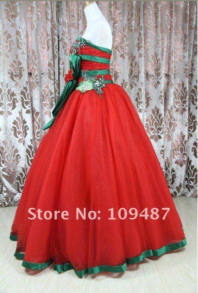 2014 new wedding dress tutu cute bright red with green yarn high