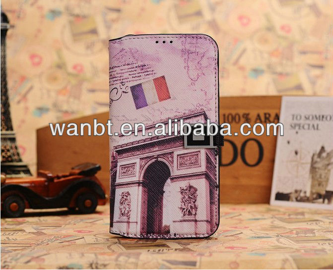 Hot leather wallet case design with the world famous scenery for samsung galaxy s4 i9500