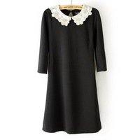 Женское платье 2014 Sexy Slim Office Lady And Preppy Style Plus Size Woman Lace Collar Dress Black Mini Dress M L