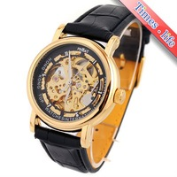 Наручные часы Deluxe Skeleton Gold Mens Watch Carve Dial Automatic Black Strap Gift iw2186