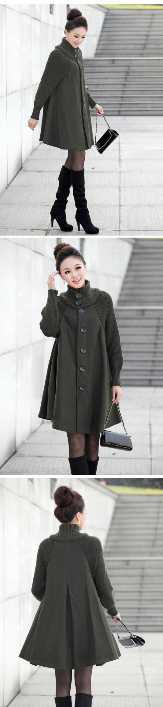 2012 New Korea Style Winter Coat Loose and Comfortable Mandarin Collar Wooden Yarn Cloak Tweed Coat