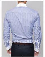 Мужская повседневная рубашка New Mens Casual Slim Fit Stylish Dress Shirts Colour:Blue, Purple US Size:S, M, L, XL 6046