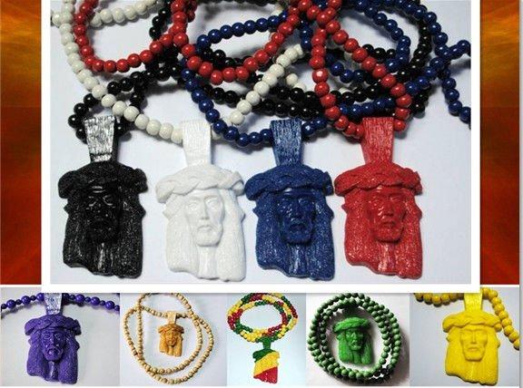 3d Wooden Jesus Piece Pendant Necklaces Chain Jesus Face Pendant Hiphop Necklace Christmas Promo