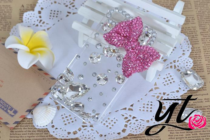 Handmade 3D Bow ribbon mobile phone case crystal Rhinestone bling Hard case Cover Samsung Galaxy S3 iphone 5 4s 4c for cusom
