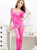 Женское нижнее белье High-grade Sexy Lingerie Sexy trade jacquard spider short sleeved open crotch body net silk stockings temptation