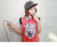 Женский козырек Women Men Unisex Punk Fashion Hip Hop Hat Rivets Cap 55-59cm