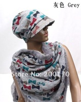 Женские шарфы, Шапки, Комплекты 2012 NEWEST Fashion hat and scarf, hat and scarf 2 pcs set, Many design and colors mix order, Factory price, A0141