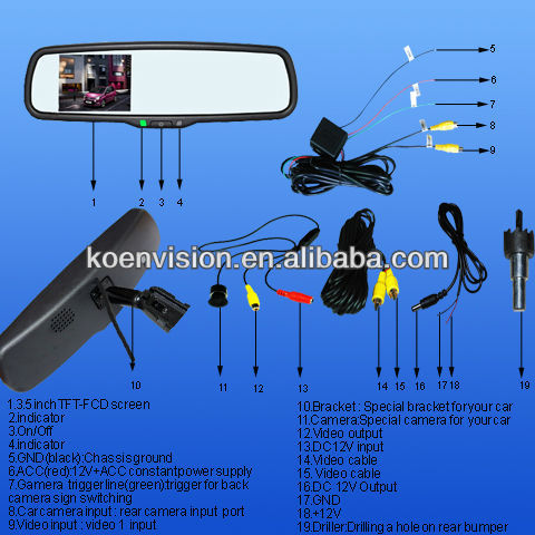Rearview Mirror Camera For Honda With Monitor