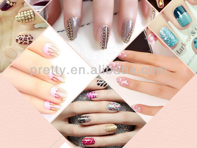 Elegant Nail Art Tips 24pcs Unique Design False Nails Long Size