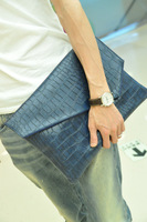 Портфель 2013 Man bag crocodile grain white-collar pu leather envelope briefcase