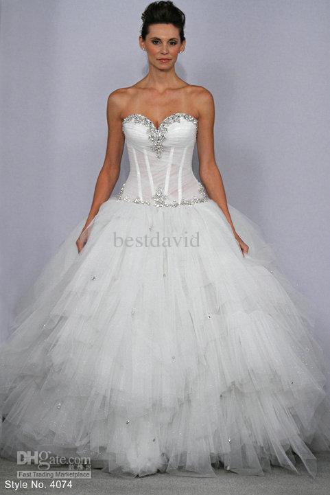 Sexy Ball vestido frisados Pnina Tornai Bling Bling vestidos de noiva