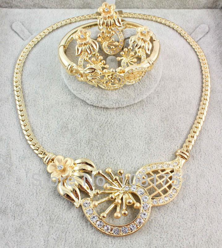 Бесплатная доставка мода Высокое качество африканский Jewelery комплект горный хрусталь ожерелье комплект для женщин