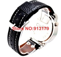 Наручные часы 2012 COOL 2 Time-zone Leather Steel Mens/Ladies Military Watch Skeleton GMT Two Places