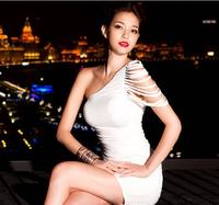 Платье для вечеринки 2013 new sexy tight oblique dress