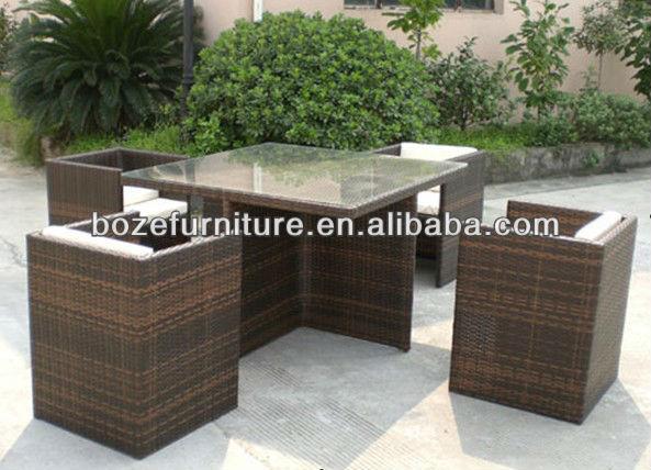 Mueble jard n mobiliario rattan mimbre mesa de comedor y - Muebles de mimbre para jardin ...