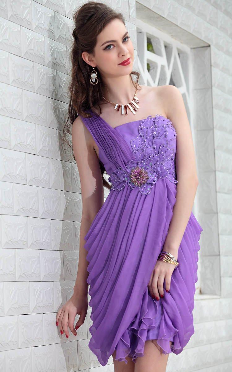 Turmec » one shoulder purple cocktail dress