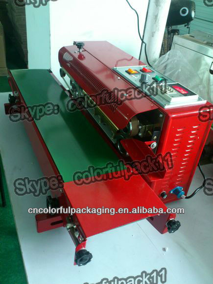 portable aluminium foil bag sealing machine conveyor/continuous plastic bag sealer heat sealing machine