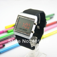 New Hot Sales,Free Shipping,100 Pcs/Lot,13 Colors, Red Light Diamond/Crystal Digial Watches Mirror Led watch_Wholesales&Retails