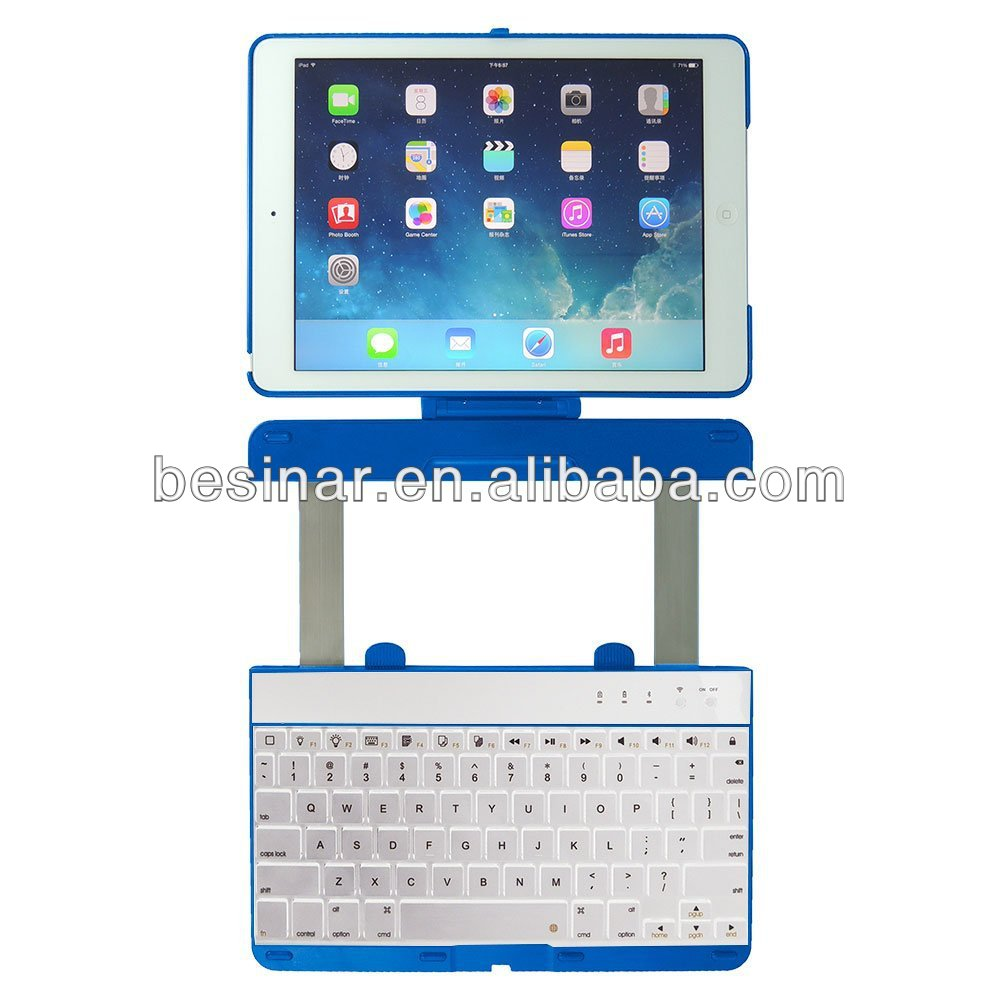 Rotating Slide bluetooth keyboard case for iPad air Rotatable Case with aluminum bluetooth keyboard